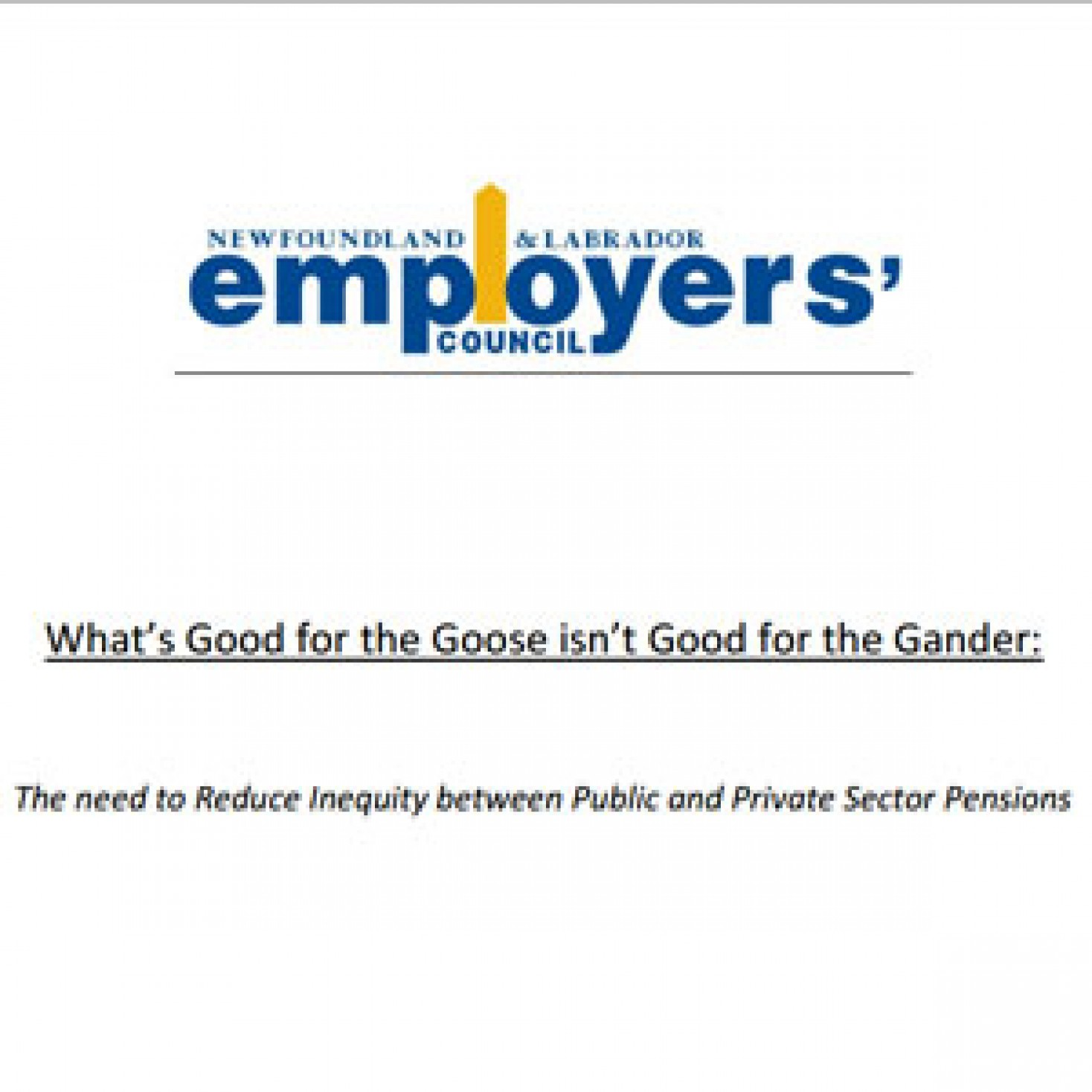 What's Good for the Goose isn't Good for the Gander: The need to reduce inequity between public and private sector pensions