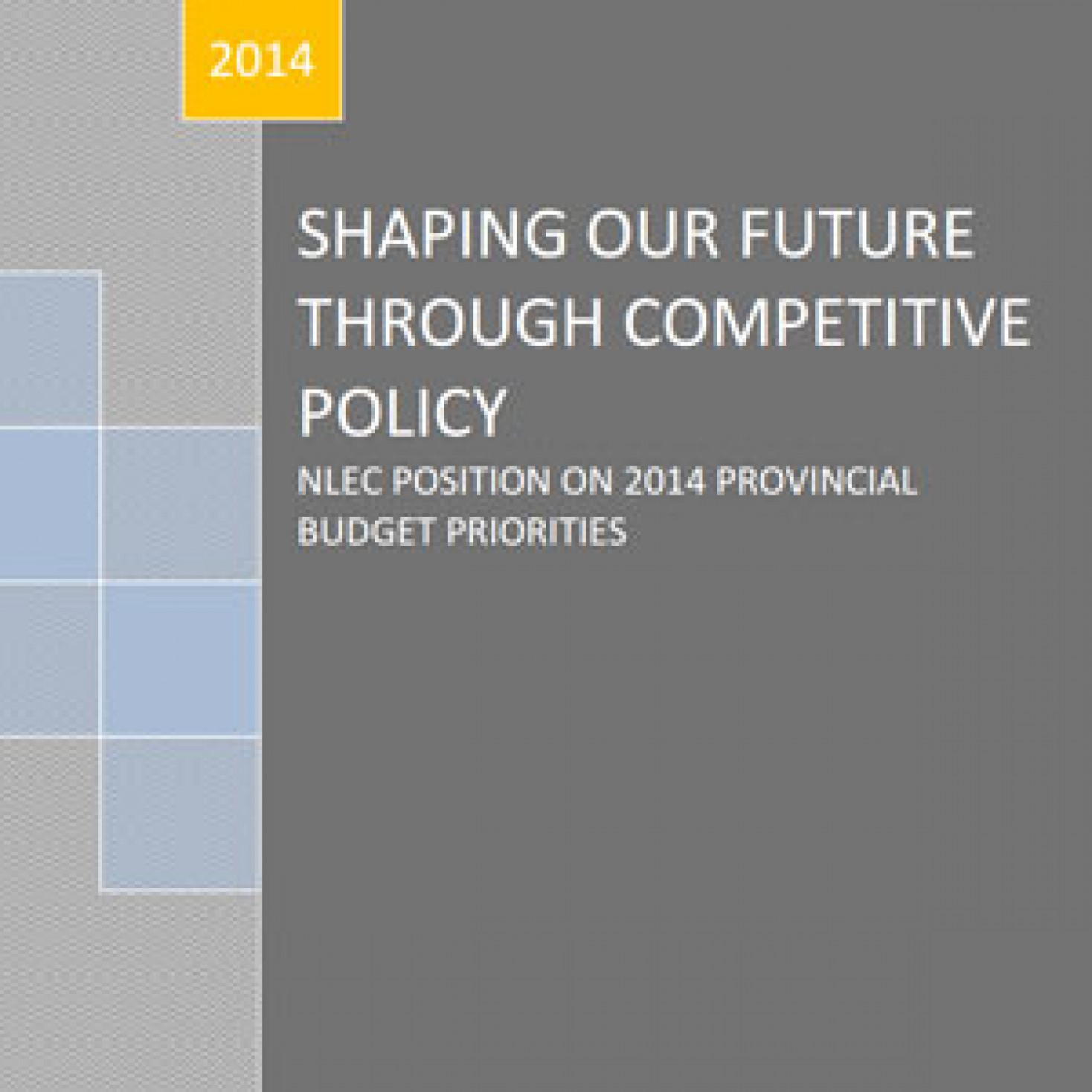 Shaping our Future through Competitive Policy – NLEC position on 2014 Provincial Budget Priorities