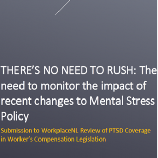 Submission to WorkplaceNL Review of PSTD Coverage in Worker's Compensation Legislation