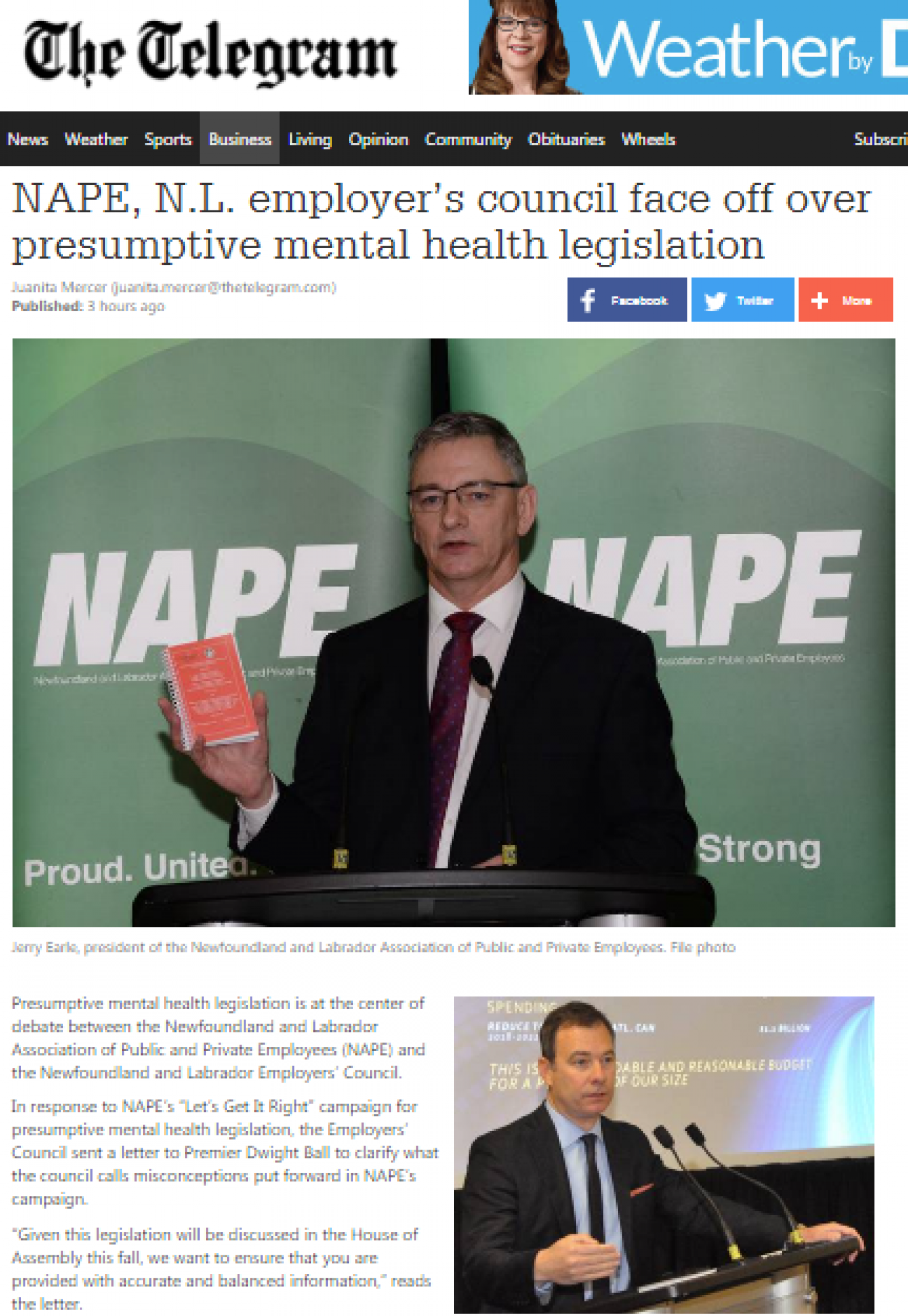 Employer's Council addresses inaccuracies in NAPE's campaign for presumptive workplace mental health legislation